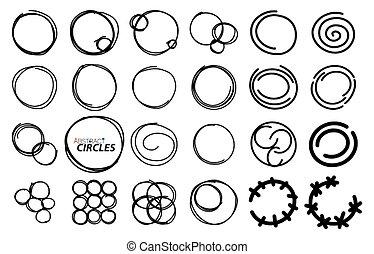 略述, 集合, 理念, 背景, 圖象, 手, 框架, circles., 畫, 輪