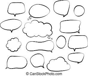 略述, 集合, outline, bubbles., 心不在焉地亂寫亂畫, balloon, 手, 形狀, 呼喊, 矢量, 演說, 談話, 雜文, 畫, 喜劇演員, 氣泡, 線, 雲, retro