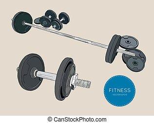 略述, dumbbells, 重量, 杠鈴, vector., 健身