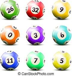 番号を付けられる, セット, 宝くじ, ボール