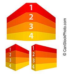 番号を付けられる, 横列, のように, 壁, 黄色, 見通し, 赤, 3d
