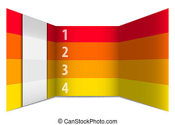 番号を付けられる, 横列, 見通し, 黄色, 赤