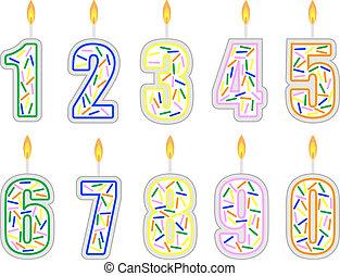 番号を付けられる, 蝋燭, セット, birthday