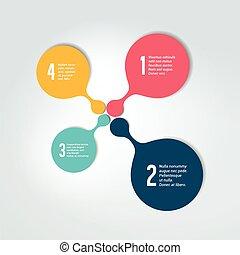 番号を付けられる, infographic, scheme., ラウンド, element., テンプレート