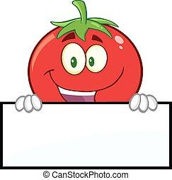 番茄, 在上方, 空白, 微笑, 簽署
