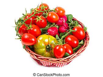 番茄, 在, a, 籃子, 被隔离, 在懷特上