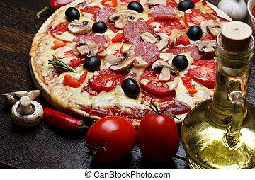番茄, 生活, 木制, 蘑菇, 烹調, 熱的胡椒, 桌子, 仍然, 比薩餅