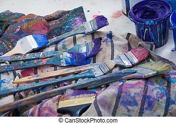 畫家, 工作室,  Paintbrushes