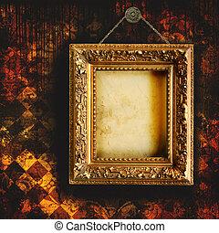 畫框架, 牆紙, 撕碎, grungy, 空