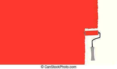 畫, 刷子, 滾柱, 紅色