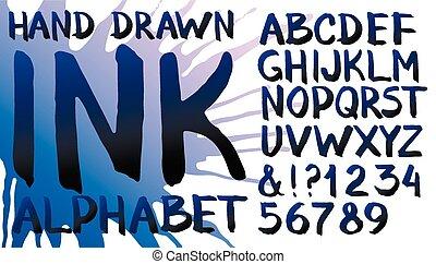 畫, 墨水, 手, 字母表