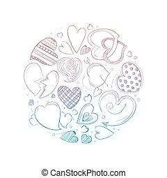 畫, 概念, 輪, 手, 心