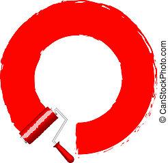 畫, -, 滾柱, 紅色