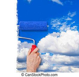 畫, 牆壁, 由于, 天空