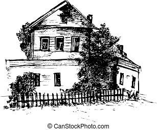畫, 矢量, house., 插圖, 手
