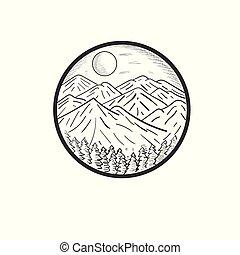 畫, 設計, 手, 插圖, 山