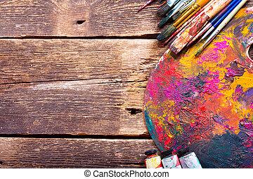 畫, 調色板, 刷子, 鮮艷
