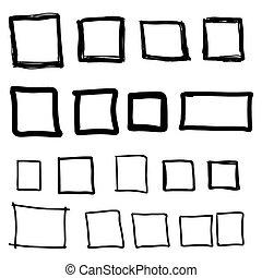 畫, 集合, square., 手