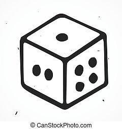 畫, 骰子, 矢量, 插圖, 手