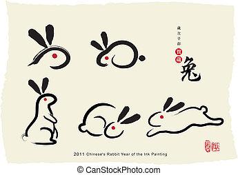 畫, chinese's, 兔子, 墨水