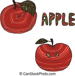 畫, .vector, 蘋果, 插圖, 手