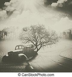 異常, future., 環境, 污染, 概念