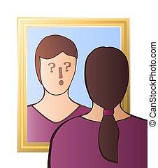 疑わしい, 懐疑心, 女, 意識, 鏡
