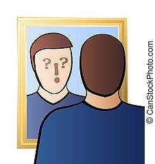疑わしい, 懐疑心, 鏡, 意識, 人