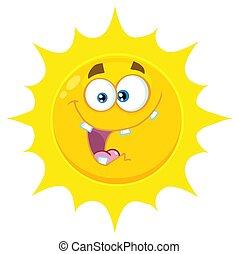 疯狂, 太阳, 性格, 黄色的脸, 表达, 卡通漫画, emoji