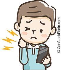 疲れた, マレ, 打撃, 彼の, 痛み, 若い, 携帯電話, 首, 保有物