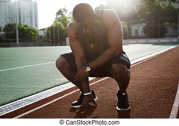 疲れた, 運動選手, 終えられた, 若い, 動くこと, アフリカの男性