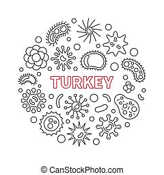 疾病, coronavirus, 火雞, 插圖, 矢量, 線, 輪
