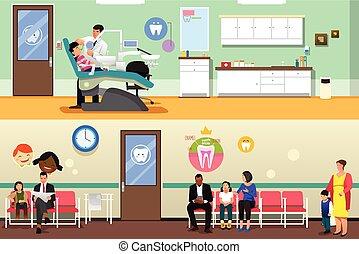 病人, 以及, 牙醫, 在, 牙齒的辦公室, 插圖