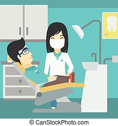 病人, 以及, 醫生, 在, 牙醫, 辦公室。