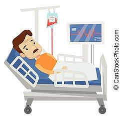 病人, 在在醫院病床, 矢量, illustration.