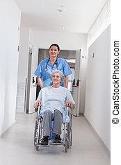 病人, 在, a, 輪椅