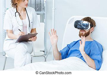 病人, 在, vr, 的談話, 醫生