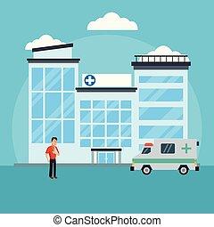 病人, 外面, 醫院