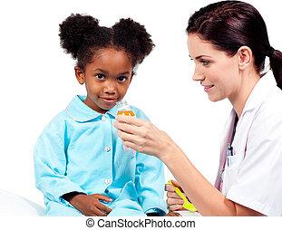 病人, 她, 醫生, 給, 充滿信心, 醫學