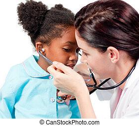 病人, 她, 醫生, 聽診器, 女性, 玩