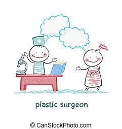 病人, 工作, 塑料, 談話,  t, 外科醫生