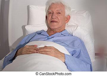 病人, 年長, 床