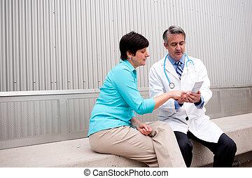 病人, 成熟, 女性, 醫生