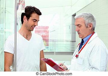病人, 由于, 滴水, 近, a, 醫生