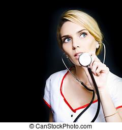 病人, 相當, 准備好, 心跳, 護士, 檢查