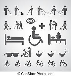 病人, 窗帘, 無能力, 以及, 老人, 符號