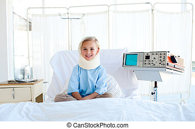 病人, 脖子, 坐, 醫院床, 括號