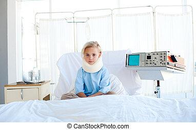 病人, 脖子, 坐, 醫院, 打翻, 床, 括號
