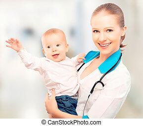 病人, 醫生, 儿科醫生, 孩子, 嬰孩, 愉快