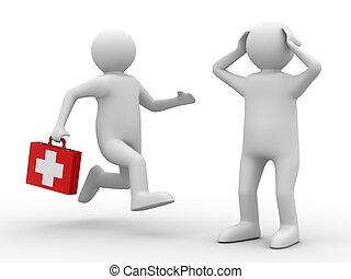 病人, 醫生, 圖像, 被隔离, 背景。, 白色, 3d